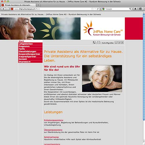 Webdesign für 24Plus Home Care